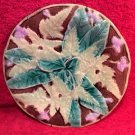 Antique Majolica Leaves & Flowers Plate c.1800's with Hanger, fm882