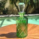 Antique French Green Cut to Clear Crystal Perfume Cologne Scent Bottle c1920's