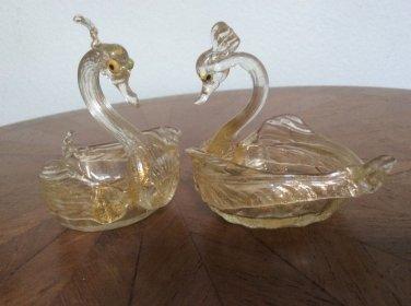 Gorgeous Pair of Venetian Murano Mouth blown Swan Open Salt Cellars, gl129