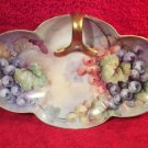 Antique Hand Painted Handled Porcelain Serving Tray Gold w Grapes & Leaves, p232