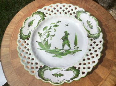Antique French Faience Chinoiserie Plate c.Before 1880 Holding Dove, ff449