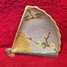 Antique Fan & Dragonfly Majolica Dish Plate, fm991