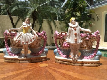 Antique Victorian German Bisque Circus Clowns Match Safe, Match Holder, Spill Vases c1880's, gm837