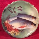 Antique French Limoges Hand Painted Signed Fish Wall Platter, L324