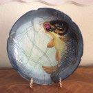 Antique French Majolica Plate Dish Fish Caught In Net c1800's, fm1000