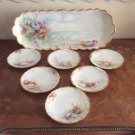 Antique Hand Painted Limoges Large Platter + 6 Plates Sea Shells & Sea Shore, L330