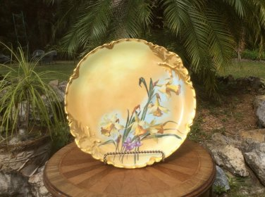 Large Antique Haviland Limoges Artist Signed Daffodils Wall Platter c1894+, L331
