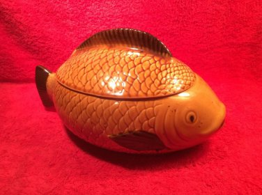 Vintage German Majolica Covered Fish Tureen c.1950's, gm850