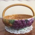 Beautiful Vintage Sarreguemines Majolica Handled Fruit Basket, fm 1006