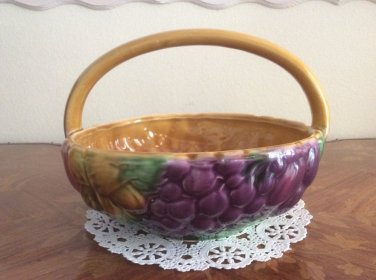 Beautiful Vintage Sarreguemines Majolica Handled Fruit Basket, fm 1006