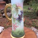"Gorgeous Antique German Hand Painted Fine Porcelain Large Tankard ""to Mother"", p242"