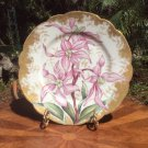 Antique Haviland Limoges Hand Painted Purple Iris Flowers & Sponged Gold Plate, L334