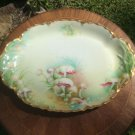 Antique Hand Painted Haviland Limoges Gold w Mushrooms Platter c1894, L336