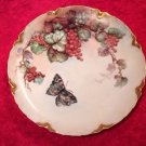 Antique Hand Painted Limoges Red Currants & Butterfly Plate, L261
