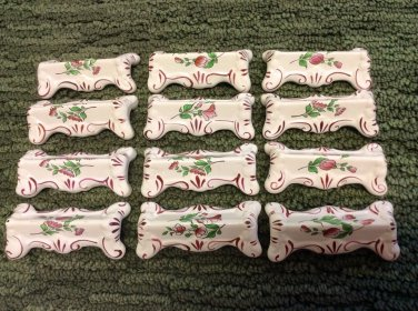 Fabulous Antique Vintage Set of 12 Luneville French Faience Knife Rests, lun97