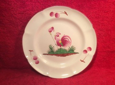 Superb Vintage Saint Clement Faience Rooster w Bonnet of Freedom Plate c1963, ff462