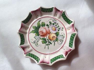 Antique French Faience de l'Est Bouquet Butter Pat c1800's, ff377