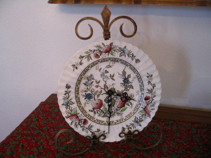Shabby Chic Plate Clock J. G. Meakin cuppatea.ecrater.com
