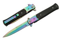 Rainbow titanium folding knife,stainless steel blade