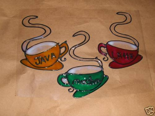 3 Coffee Cups Faux Stained Window Cling
