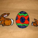 Easter Egg and Bunnies Faux Stained Window Cling