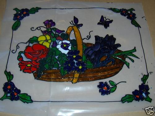 Basket Of Flowers Faux Stained Window Cling