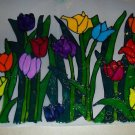 Bed OF Tulips  Faux Stained Window Cling
