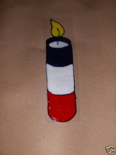 Patriotic Fire Cracker  Faux Stained Window Cling