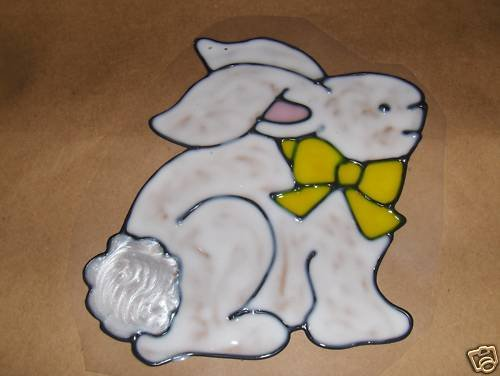 Bunny With Yellow Ribbon  Faux Stained Window Cling