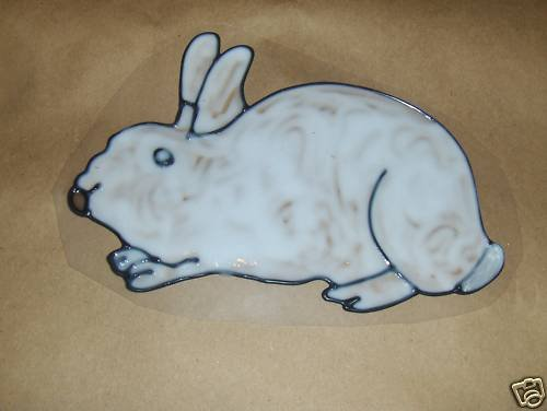 White Bunny   Faux Stained Window Cling