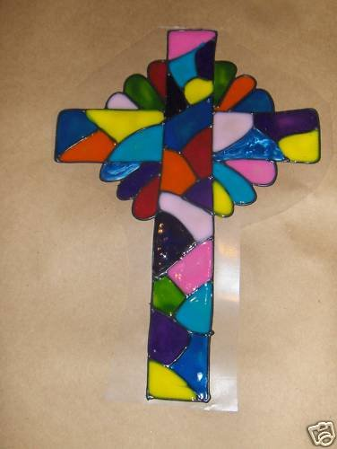 Happy Easter   Cross   Faux Stained Window Cling