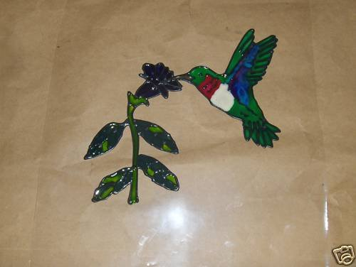 Hummingbirds  Faux Stained Window Cling