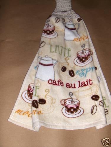 Coffee  Hanging Kitchen Crochet Top Dish Towel