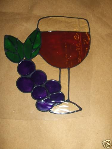 Wine & Grapes  Faux Stained Window Cling