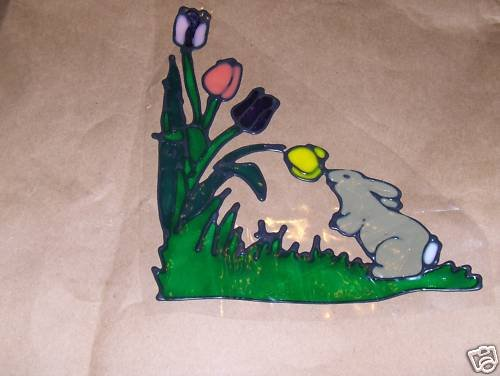 Bunnie Smelling Tulips   Faux Stained Window Cling