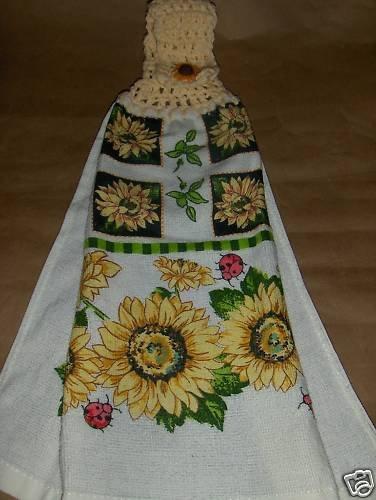 Sunfowers  Crochet Top Dish Towel