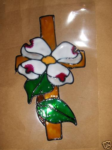 Dogwood Cross!  Faux Stained Window Cling