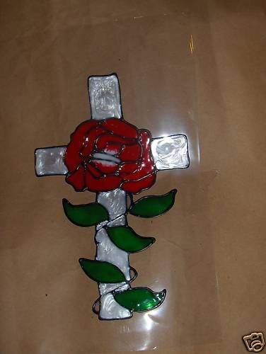 White Cross !  Faux Stained Window Cling