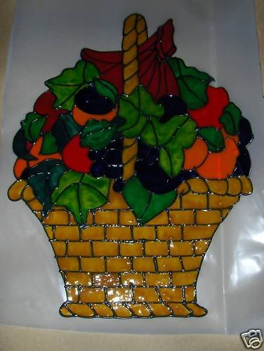 Basket Of Fruit & Ivy   Faux Stained Window Cling