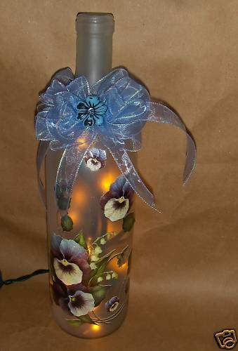 Pansies Lighted Wine Bottle