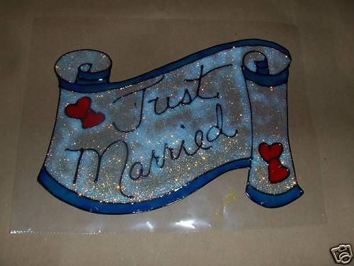 Just Married  Faux Stained Window Cling