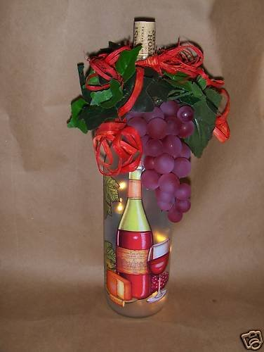 Red  Wine And Grapes ! Lighted Wine Bottle
