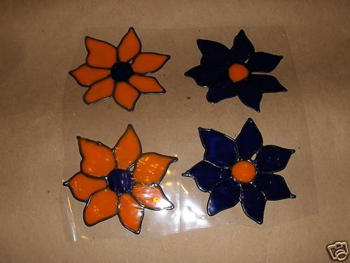 4 Flowers Faux Stained Window Cling