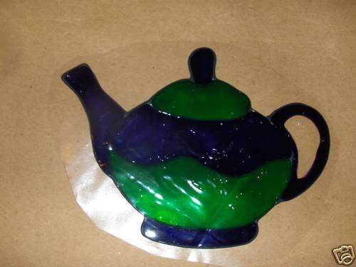 Teapot   Faux Stained Window Cling