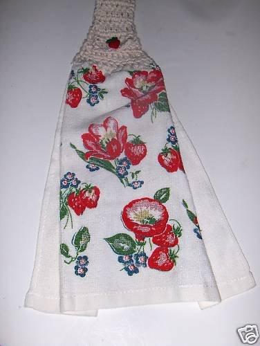 Strawberry   Hanging Kitchen Crochet Top Dish Towel
