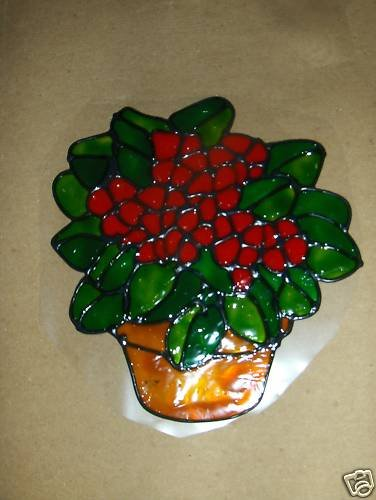 Pot of  Red Flowers Faux Stained Window Cling