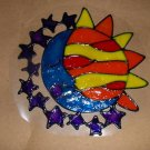 Sun,Moon,Stars Faux Stained Window Cling