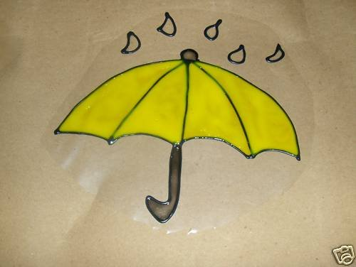 Umbrella Faux Stained Window Cling