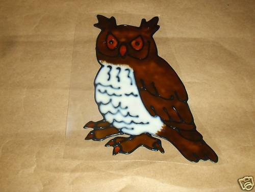 Owl  Faux Stained Window Cling