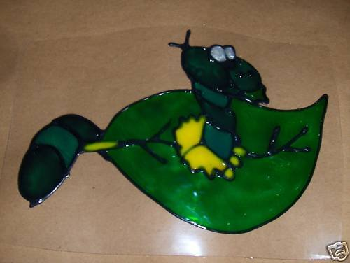 Caterpillar  leaf Faux Stained Window Cling